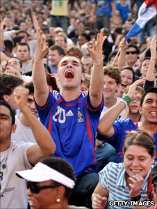 French fans watch their team in Paris