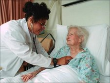 A doctor attends to a elderly female patient