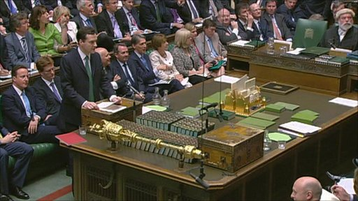 George Osborne delivering budget to the House of Commons