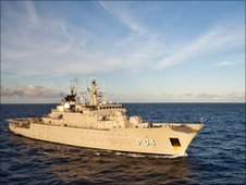 A Swedish vessel, part of the EU anti-piracy task force patrolling the Gulf of Aden and the Indian Ocean - 11 May 2010