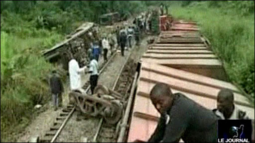 The aftermath of the train crash in the south of Congo-Brazzaville