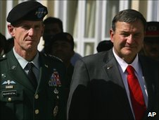 Gen Stanley McChrystal with US ambassador to Kabul, Karl Eikenberry, in Oct 2009