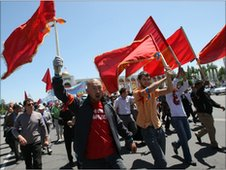 Supporters of Roza Otunbayeva in Bishkek on 16 May 2010
