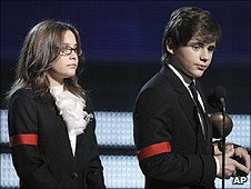 Paris and Prince Michael Jackson II at the Grammy Awards