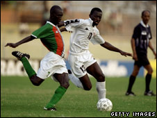 Brahami Kone of Ivory Coast and Komlan Assignon of Togo, in 2000