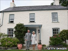 Prince Charles and the Duchess of Cornwall at their Welsh home Llwynywermod at Myddfai near Llandovery in Carmarthenshire