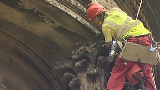 Abseilers at St Chad's church