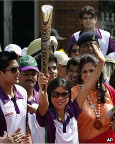 Indian athletes with the Commonwealth Games baton at Wagah border on 25 June 2010
