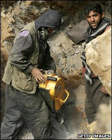 Miners drilling in Afghanistan