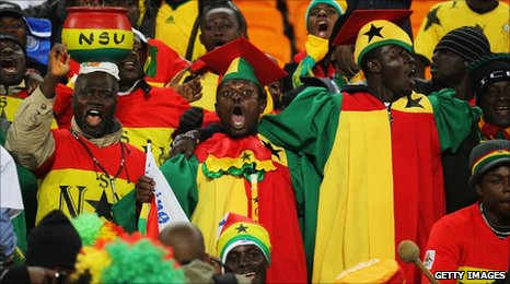 Ghana fans cheering prior to the Group D match with Germany at Soccer City Stadium. 23 June  2010