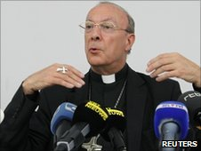 Archbishop Andre-Joseph Leonard at a news conference in Brussels on 25 June 2010