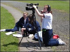 School Reporters at Lurgan Junior High School sports day, Co. Armagh, Northern Ireland