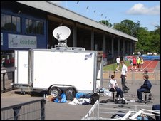 The reporting truck at Lurgan Junior High School sports day, Co. Armagh, Northern Ireland