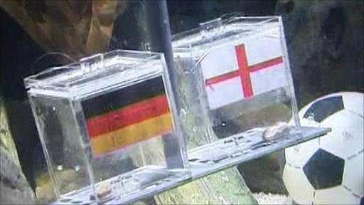 Two containers with England and Germany flags on