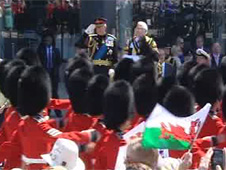 Regiments saluted Prince Charles as they marched passed him
