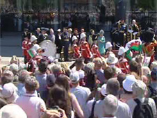 Crowds gathered at Cardiff Bay to watch the parade