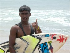 Sri Lankan surfer, Arugam - June 2010