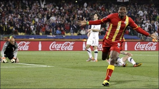 Ghana's Asamoah Gyan celebrates his goal