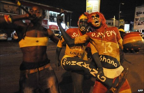 Ghana fans in Accra celebrate their team's victory over the USA - 26 June 2010