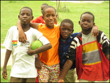 Young footballers in Accra - 26 June 2010
