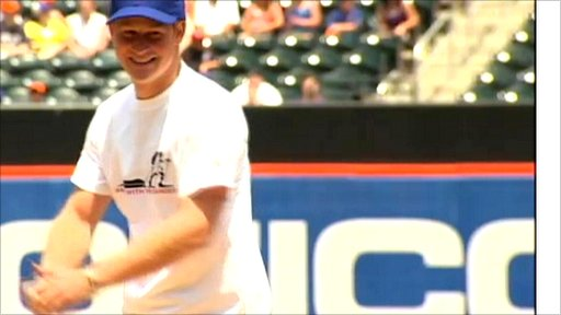 Prince Harry throws the first pitch at a New York Mets game