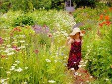 A child in a garden