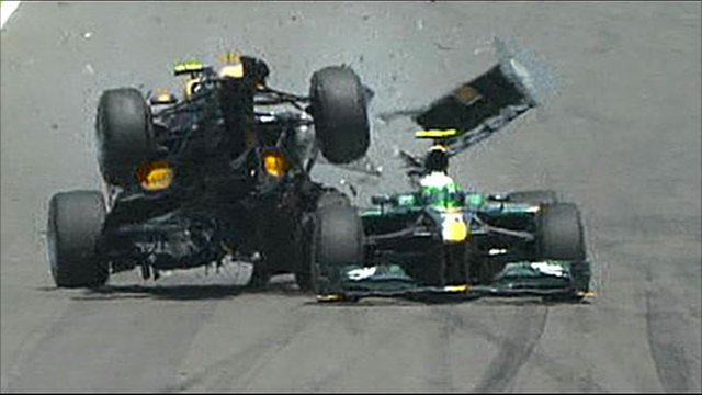 Mark Webber's car hits Kovalainen