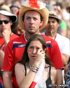 England fans watch the match at Glastonbury