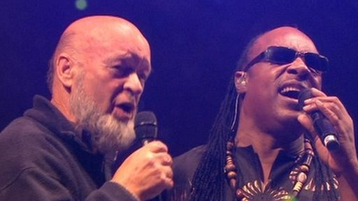 Michael Eavis and Stevie Wonder