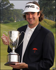 Bubba Watson with the tournament trophy