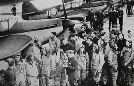 Trainee pilots and instructors at RAF Sealand during World War II