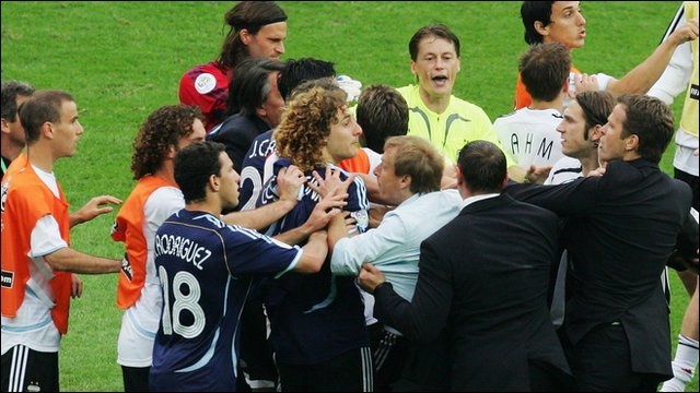 German players clash with their Argentine opponents at the World Cup in 2006