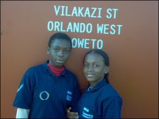 Abena and Akosua on the famous Vilakazi Street in Soweto