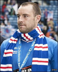 Kris Boyd celebrates Rangers' title win