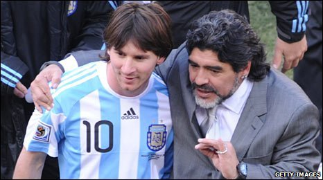 Maradona and Lionel Messi