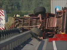 A12 Essex tractor crash