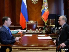 President Dmitry Medvedev and PM Vladimir Putin, 28 June