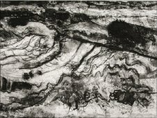 Limestone pavement, West Beach, etching and aquatint