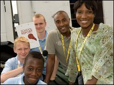 Colin Jackson, Denise Lewis and School reporters Nii, Josh and Jack