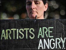 Protestor at Tate Britain
