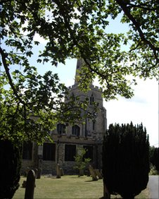 View of St Andrew's church, Chesterton across the grave yard