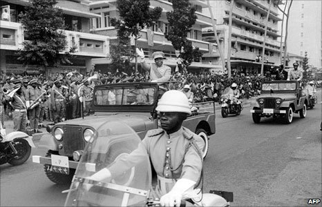 Joseph Kasavubu, first president DR Congo waves to the crowd, on 30 June 1960 during the celebrations of the 5th anniversary of independence in 1965  the year he was ousted