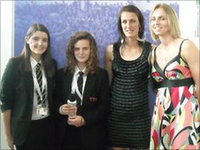 India and Grace speak to Jill Scott and faye White from England women's football team