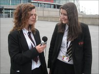 India and Grace prepare for their interview outside Wembley stadium