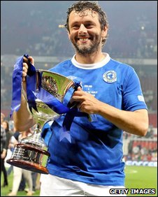 Michael Sheen playing at Soccer Aid