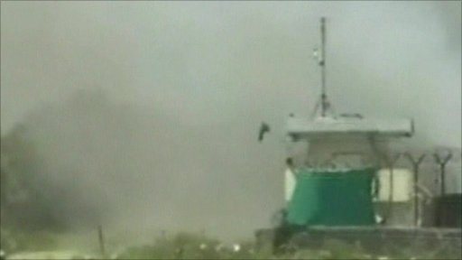 Smoke was seen rising following the Taliban attack on the Nato base in Afghanistan