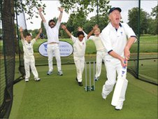 Gordon Kennedy and some young cricketers celebrate taking Chris Tarrant's wicket at The Lord's Taverners Festival of Cricket in 2008