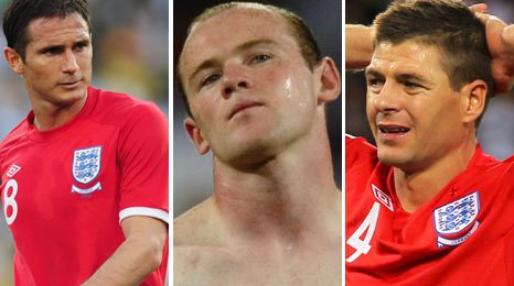 England's Frank Lampard, Wayne Rooney and Steven Gerrard