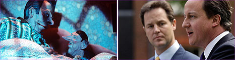 Spitting Images' 'Two Davids' and Clegg and Cameron