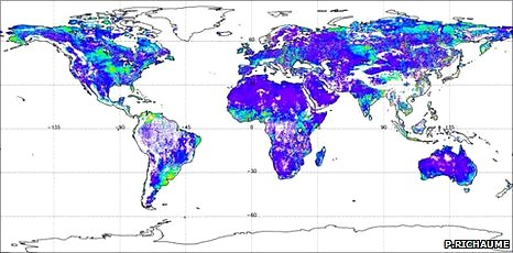 Global soil moisture map (P. Richaume)